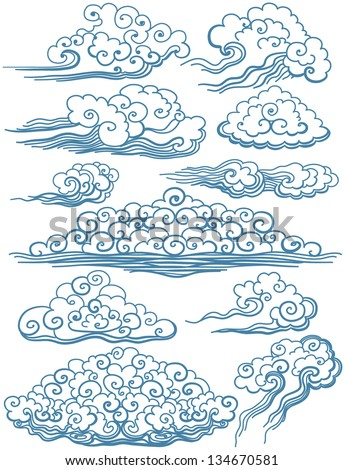 Vector Set of isolated Clouds - stock vector