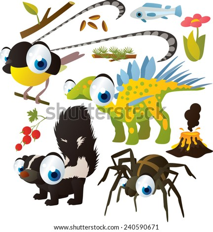 Vector set of isolated cute animals: bird of paradise, dinosaur, skunk, spider - stock vector