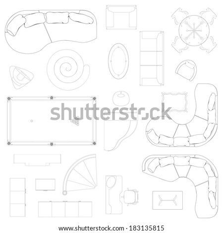 Vector Set of isolated different types of sofas,tables,chairs,cupboards and other furniture - stock vector