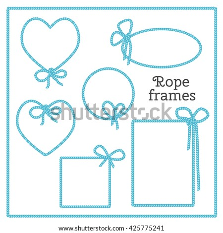 Vector set of isolated frames with bow from blue rope. Heart, round, square, rectangular objects.