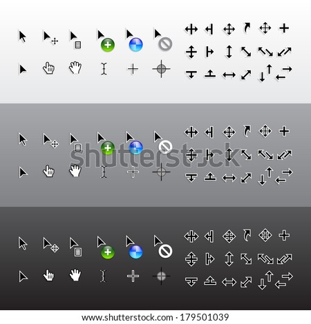 Vector Set of Isolated Mouse Pointer Cursors - stock vector