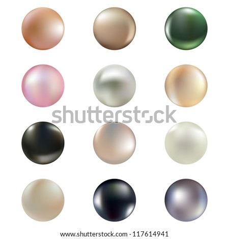 Vector set of isolated pearls of different colors