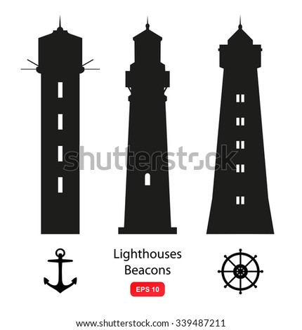 Vector set of isolated silhouettes with lighthouses, beacons and marine symbols. - stock vector