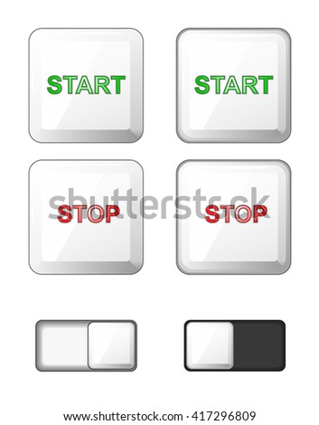 Vector. Set of isolated white square buttons. Plastic buttons, icons for internet: start button, stop button, slider bar (slide button). Green, red. Plus pushed buttons. - stock vector