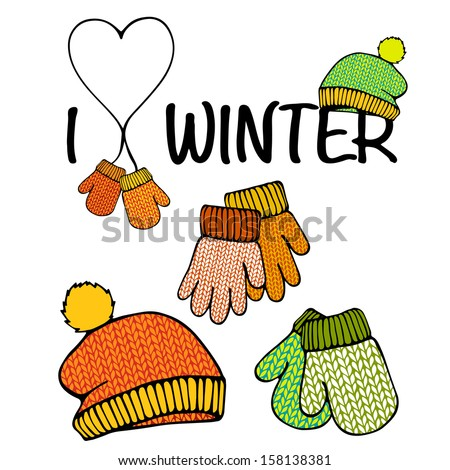 Vector set of isolated winter accessories - stock vector