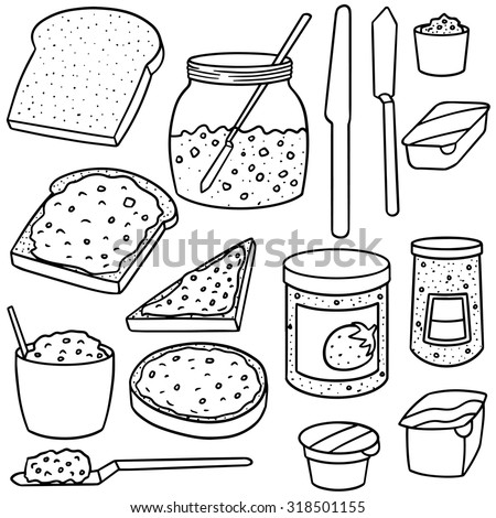 vector set of jam and toast - stock vector