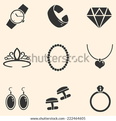 Vector Set of Jewelry Icons - stock vector