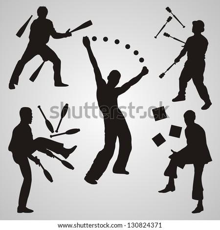Vector set of jugglers - stock vector