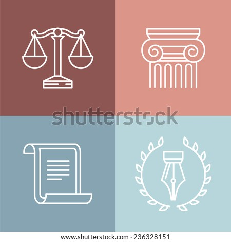 Vector set of juridical and legal logos and signs - line icons - stock vector