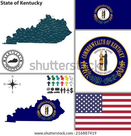 Vector set of Kentucky state with flag and icons on white background - stock vector