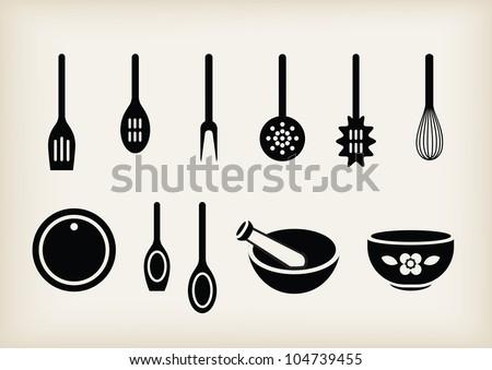 Vector set of kitchen tools - stock vector