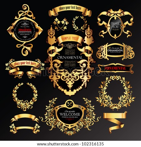 vector set of labels with gold elements - stock vector