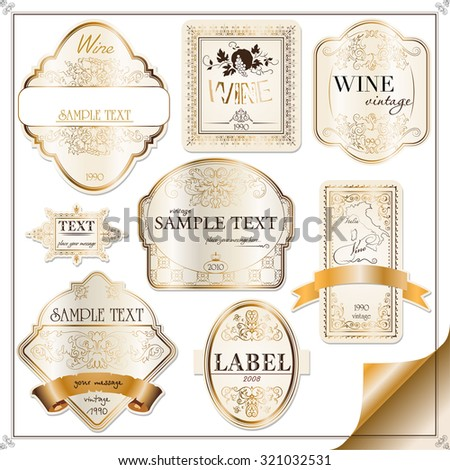 vector set of labels with gold elements and ribbons