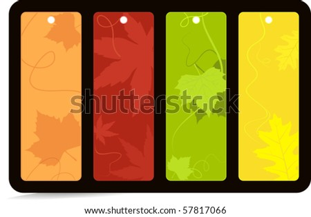Vector set of 4 labels with leaves in bright autumn colors. Global color swatches, no gradients, artwork grouped and layered.