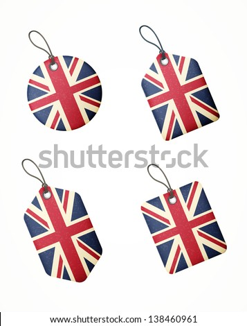 vector set of labels with united kingdom flag isolated - stock vector