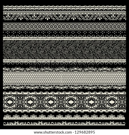 vector set of lace trims - stock vector
