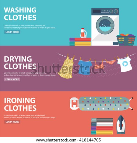 Vector set of laundry, clothes washing and ironing banners - stock vector