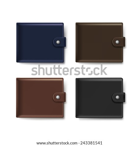 Vector Set of Leather Wallets Isolated on White Background