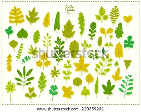 Vector set of leaves. Cartoon leaf illustration. - stock vector