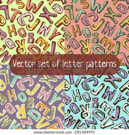 Vector set of letter patterns