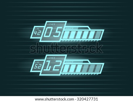 Vector set of life and power progress bars for casual games interface, eps10  - stock vector