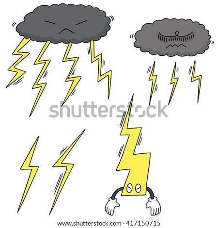 vector set of lightning