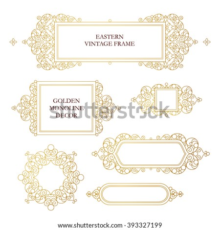Vector set of line art frames for design template. Element in Eastern style. Golden outline floral frames. Mono line decor for invitations, greeting cards, certificate, thank you message. - stock vector