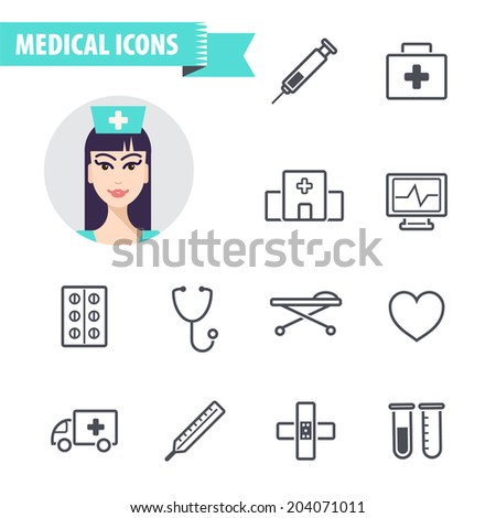 vector set of line medical black and white icons isolated - stock vector