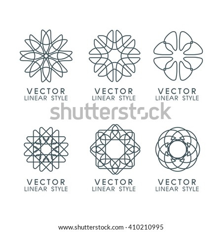 Vector set of linear design elements, logo design templates and mono line badges for packaging ,vector illustration - stock vector