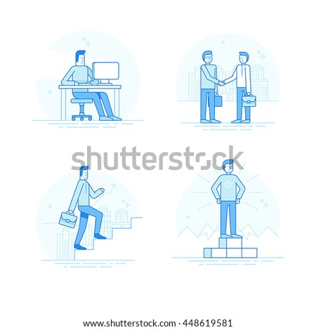 Vector set of linear icons, illustrations and infographic elements in trendy linear style - business concept - man character working at the computer, achieving success, shaking hands with partner