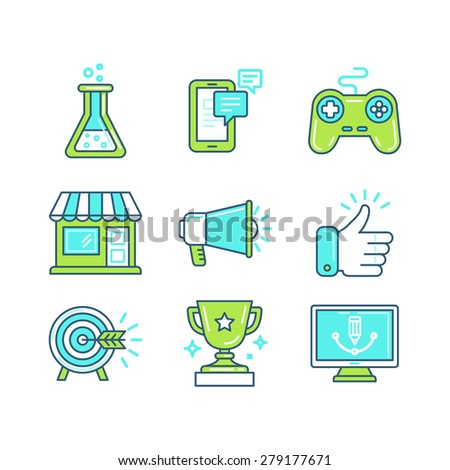Vector set of linear icons in trendy style - tools and metaphors related to marketing process - business concepts - stock vector