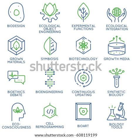 Vector set of 16 linear thin icons related to bio design, biotechnology and bioengineering. Mono line pictograms and infographics design elements