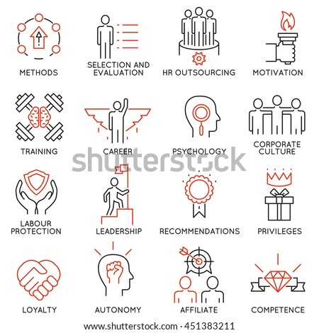 Vector set of 16 linear thin icons related to striving for success, leadership development, career progress and personal training. Mono line pictograms and infographics design elements - part 1 - stock vector