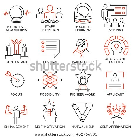 Vector set of 16 linear thin icons related to striving for success, leadership development, career progress and personal training. Mono line pictograms and infographics design elements - part 3