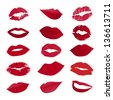 Vector set of lips on white background - stock vector