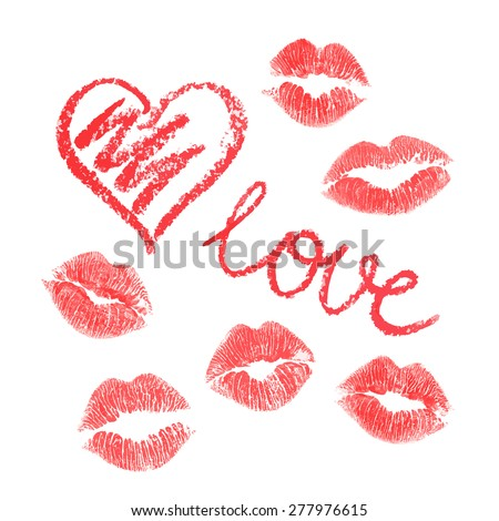 Vector set of lips prints on white background - stock vector