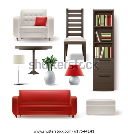 Vector Set Of Living Room Furniture Brown Wooden Bookcase, Dining Chair,  White Armchair,