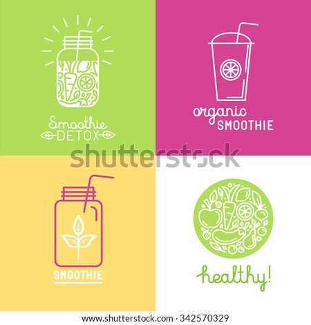 Vector set of logo design elements in trendy linear style - detox smoothie, organic juice and healthy food - stock vector