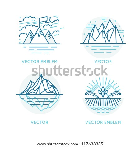 Vector set of logo design template in trendy linear style - landscape illustrations with mountains, cliff and iceberg - travel badges and prints