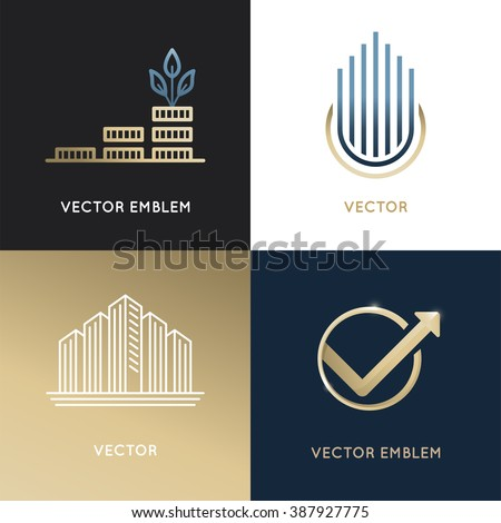 Vector set of logo design templates and emblems - business and finance concepts - investment and global market trading signs and icons - stock vector