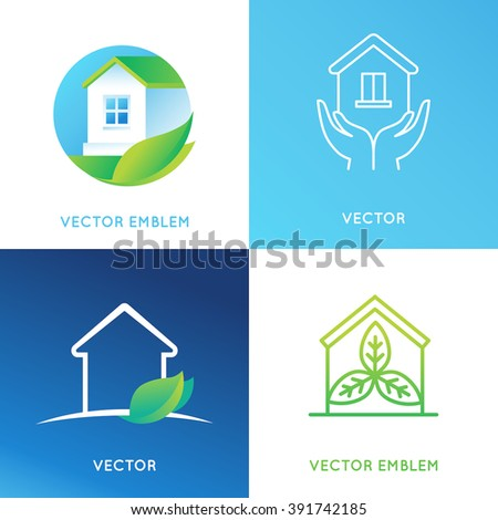 Vector set of logo design templates and emblems in bright green gradient colors - cleaning service or eco friendly home concepts - house icons with leaves  - stock vector