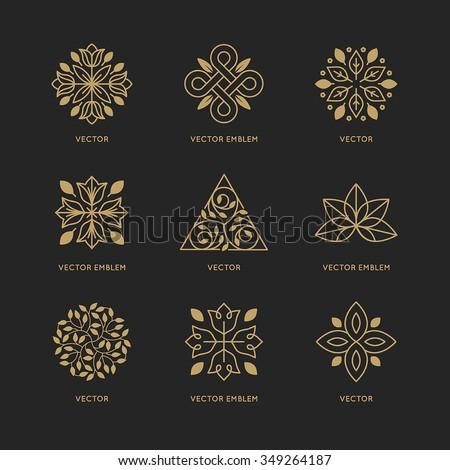 Trendy Colors vector set logo design templates emblems stock vector 349264187