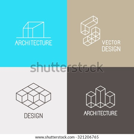 Vector set of logo design templates in simple trendy linear style for architecture studios, interior and environmental designers - mono line icons and signs - stock vector