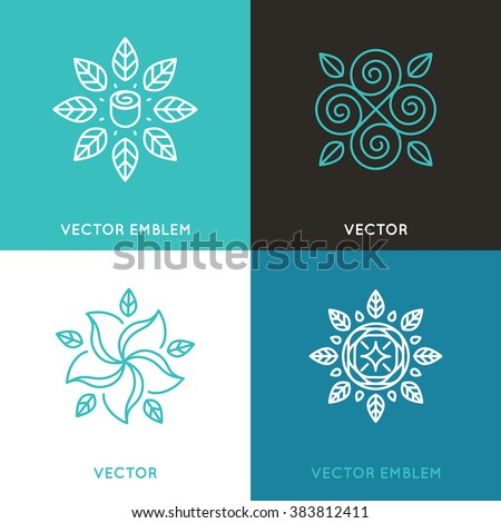 Vector set of logo design templates in trendy linear style - flowers and leaves - beauty and fashion concepts and emblems - stock vector
