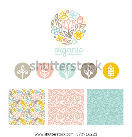 Vector set of logo design templates, seamless patterns and signs for identity, business cards and packaging - floral shops, beauty and spa studios