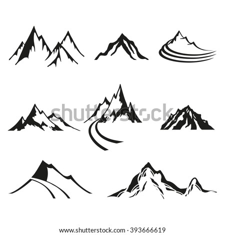 Vector set of logos isolate mountains, black silhouettes on white background.