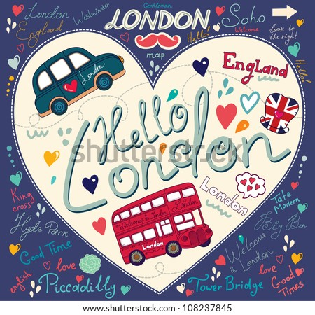 Vector set of London symbols and hand lettering of main place in town. Vector pattern on the topic symbols of London - stock vector