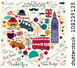 Vector set of London symbols and hand lettering of main place in town. Welcome in London. - stock vector