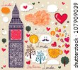 Vector set of London symbols. Vector seamless pattern - stock vector
