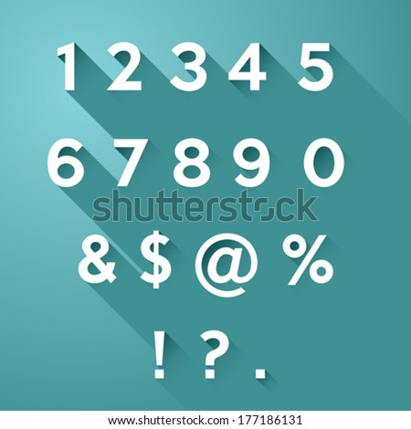 Vector set of long flat shadow numbers and signs on teal background - stock vector